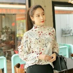 Cherryville - Floral Pattern Frilled Blouse