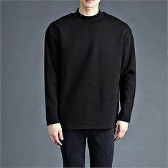 THE COVER - Mock-Neck Plain T-Shirt