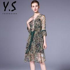 Y:Q - Set: Elbow-Sleeve Floral A-Line Dress + Slipdress