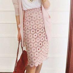 Amella - Set: Sleeveless Top + Lace Pencil Skirt
