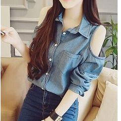 Octavia - Shoulder Cutout Denim Shirt