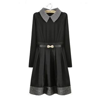 JVL - Patterned-Collar Pleated A-Line Dress
