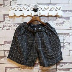 Sundipy - Drawstring Check Cropped Pants