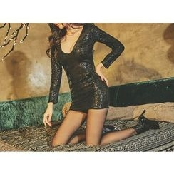 UUZONE - Scoop-Neck Sequined Dress