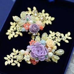 Ashmi - Bridal Flower Accent Hair Clip
