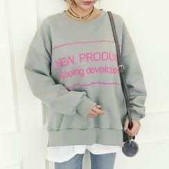DANI LOVE - Lettering Layered-Hem Sweatshirt