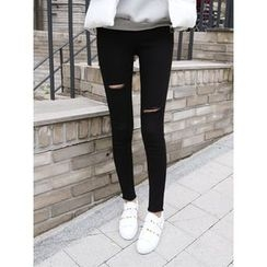 hellopeco - Cutout Fringed-Hem Skinny Jeans