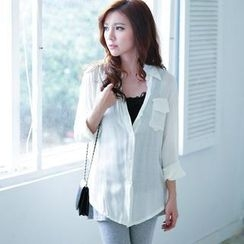 Lucky Leaf - Tab-Sleeve Chiffon Shirt