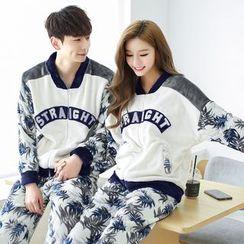 SHIRLEY - Couple Matching Pajama Set: Printed Long Sleeve Top + Pants