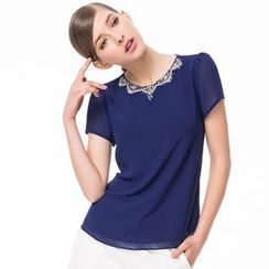 O.SA - Short-Sleeve Embellished-Neckline Chiffon Top
