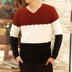HYG Lingerie - Color Block V-Neck Sweater