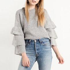Obel - Frill Trim Plain Sweater