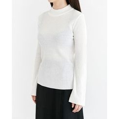 Someday, if - Mock-Neck Bell-Sleeve Rib-Knit Top