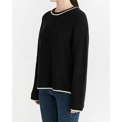 Someday, if - Contrast-Trim Dip-Back Sweater