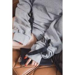 migunstyle - Round-Neck Tie-Sleeve Pullover
