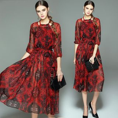 Queen Mulock - 3/4-Sleeve Printed Silk Dress