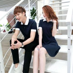 Cobogarden - Couple's Contrast Collar Polo Shirt / Polo Dress