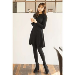CHERRYKOKO - Crew-Neck Wool Blend A-Line Knit Dress