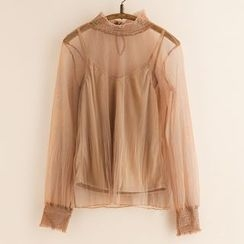 11.STREET - Set: Mesh Long-Sleeve Top + Camisole