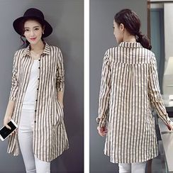 Romantica - Long-Sleeve Striped Long Shirt