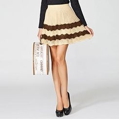 O.SA - Wool-Blend A-Line Color-Block Knit Skirt
