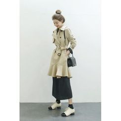 ATTYSTORY - Ruffle-Hem Trench Coat with Belt