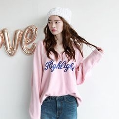 NIPONJJUYA - V-Neck Lettering Cotton Sweatshirt