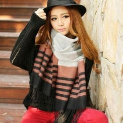 Cuteberry - Striped Fringed Scarf