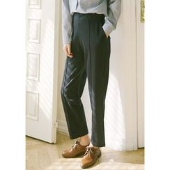 GOROKE - Band-Waist Seam-Trim Dress Pants