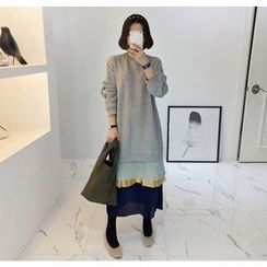 Miamasvin - Layered-Hem Color-Block Long Pullover Dress