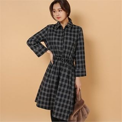 Styleberry - Drawstring-Waist Plaid Dress