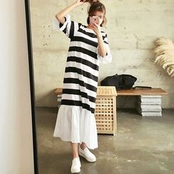HOTPING - Ruffle-Hem Striped Long Dress