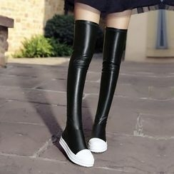 JY Shoes - Contrast Trim Over-the-Knee Boots