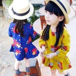 CUBS - Kids Ruffle Hem Printed Long-Sleeve Dress