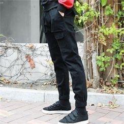 BYMONO - Drawstring-Waist Cargo-Pocket Jogger Pants