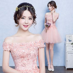P-BRIDE - Off-Shoulder Sequined Mini Prom Dress