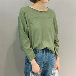 Everose - Long-Sleeve Plain Cropped Top