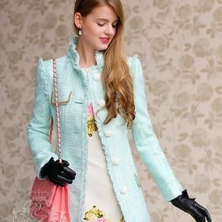 Dabuwawa - Chain-Accent Fringed-Trim Tweed Coat