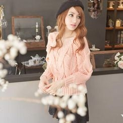 Tokyo Fashion - Lace Panel Cable Knit Sweater