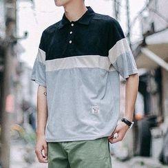 Arthur Look - Color Panel Elbow Sleeve Polo Shirt