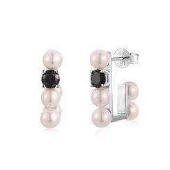 MBLife.com - Left Right Accessory - 925 Silver White Freshwater Pearl Black CZ Earrings, Women Jewelry