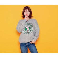 HOTPING - Round-Neck Printed Pullover