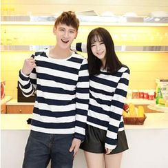 Gurun Vani - Long-Sleeve Striped Couple T-Shirt