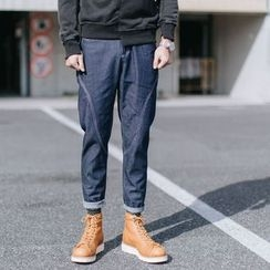 YIDESIMPLE - Stitched Straight-Cut Jeans