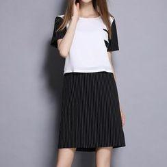 妮佳 - 短袖假兩件連衣裙