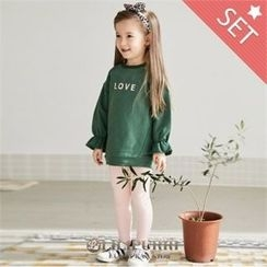 LILIPURRI - Girls Set: Ruffle-Cuff Lettering Sweatshirt + Leggings