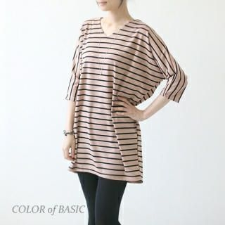 COLOR of BASIC - V-Neck Stripe Dolman-Sleeve Tunic