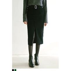 QQQQ - Slit-Front Corduroy Midi Skirt with Belt