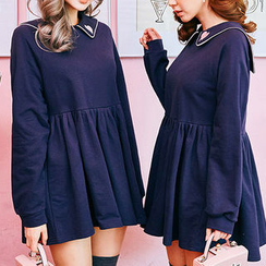 chuu - Sailor-Collar Lettering Mini Babydoll Dress