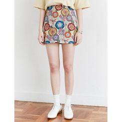FROMBEGINNING - Jacquard Floral Mini Skirt